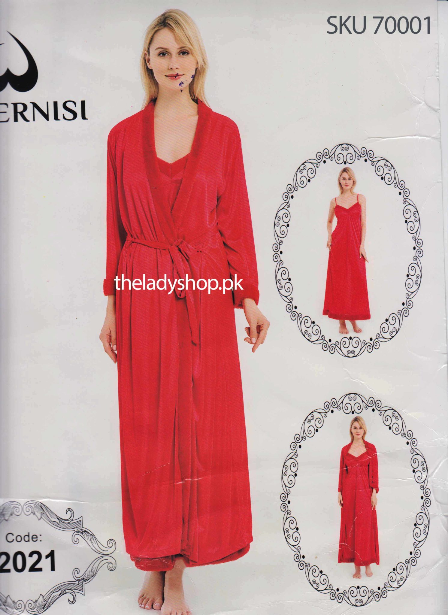 Fancy Red Robe With Long Camisole - theladyshop.pk